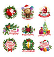 christmas icons with santa gifts new year wreath vector image vector image