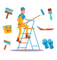 classic painter painting wall with brush vector image