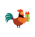colorful rooster with gift box farm cock cartoon vector image vector image