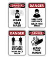 covid-19 danger signs set vector image