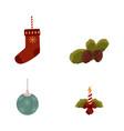 flat christmas symbols set vector image vector image