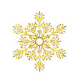 golden christmas snowflake isolated on white vector image vector image