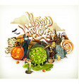 Halloween 3d invitation Pumpkin witch vampire vector image vector image