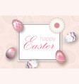happy easter background decorative text pastel vector image