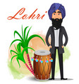 happy lohri greeting card vector image vector image