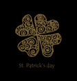 happy saint patrick s day gold shamrock clover vector image vector image