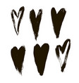 ink hearts set on white background vector image