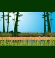 landscape wooden bridge on river vector image vector image