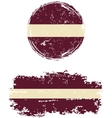 Latvian round and square grunge flags vector image vector image