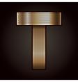 Letter metal gold ribbon - T vector image