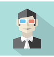 Man Wearing 3D Glasses Icon vector image vector image