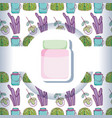 mason jar with pattern background vector image