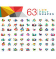 mega collection of 63 triangle low poly design vector image vector image