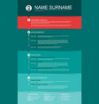 minimalist cv resume template with color stripes vector image vector image