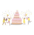people characters dancing near birthday cake vector image