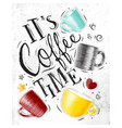 poster coffee time vector image