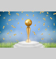 realistic trophy sport gold award on grass with vector image vector image