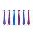 red and blue tie set vector image vector image