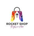 rocket shop bag inspiration logo vector image vector image