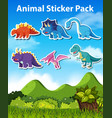 set dinosaur character vector image vector image