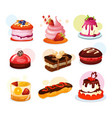 set isolated cake piece or biscuit jelly vector image vector image
