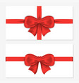 set of horizontal gift cards with luxury red bows vector image vector image