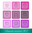 Set of nine female avatars vector image