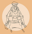 sketch a cartoon male plumber with tools in his vector image