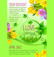 spring poster flowers for shopping sale vector image