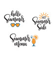 summer seasonal phrases hand lettering vector image