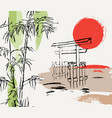sunset composition with bamboo japanese gate and vector image