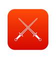 swords icon digital red vector image vector image