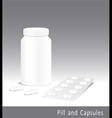 Template pharmacy of pills capsules and bottle vector image