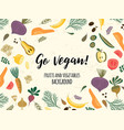 teplate with vegetables and fruit vegan vector image