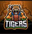 tigers sport esport mascot logo vector image vector image