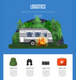 travel logistics poster with camping trailer vector image vector image