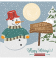 Vintage christmas poster with snowman vector image vector image