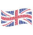 waving uk flag pattern of beer glass items vector image vector image