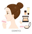 woman with hair bun make-up powder vector image