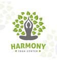 yoga tree logo concept harmony insignia vector image