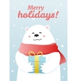 Winter postcard with white bear vector image