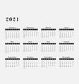 2021 year calendar horizontal design vector image vector image