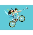 active bicyclist character vector image vector image