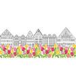 Amsterdam street landmark view buildings and vector image