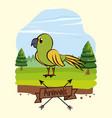 beautiful bird cartoon in forest vector image vector image