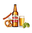 beer bottle and fresh pretzel realistic vector image vector image