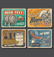 beer brewery grill snacks retro posters vector image vector image