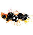 black silhouette cartoon sports balls set vector image