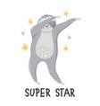 cartoon sloth dancing dab dance vector image