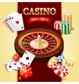 Casino background with roulette wheel game cards